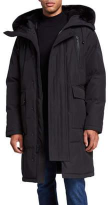 Karl Lagerfeld Paris Men's Faux Fur-Lined Long Parka Coat