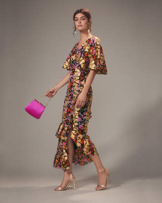 Saloni Cape Overlay Metallic Floral Midi Dress