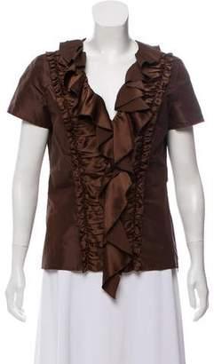 Oscar de la Renta Ruffle-Trimmed Silk Top