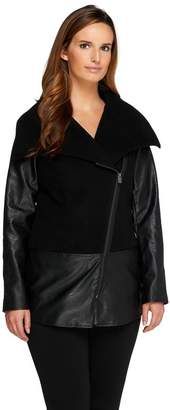 Lisa Rinna Collection Asymmetric Zip Front Draped Jacket