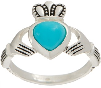 Jmh Jewellery JMH Jewellery Sleeping Beauty Turquoise Sterling Silver Claddagh Ring