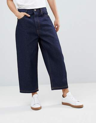 Asos DESIGN Wide Leg Cropped Jeans In Indigo