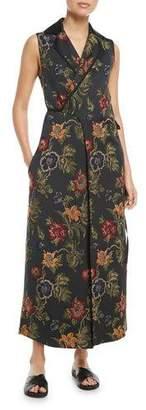 Rosetta Getty Sleeveless Floral Satin Jacquard Wrap Vest