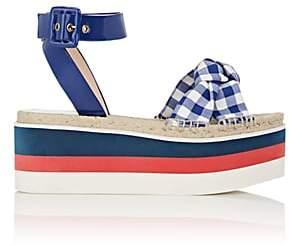 Gucci Women's Crisscross-Strap Gingham Platform Sandals - Blue