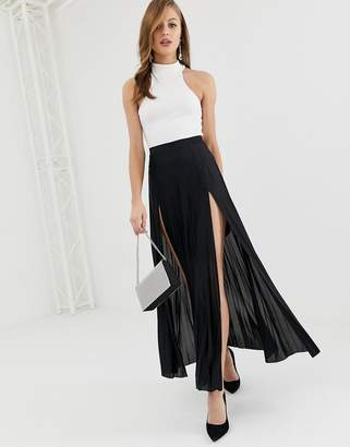 Asos Design DESIGN pleated maxi skirt with double split