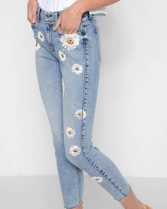 7 For All Mankind High Waist Ankle Skinny in Desert Springs with Daisies