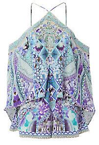 Camilla The Blue Market Cold Shoulder Romper $500 thestylecure.com