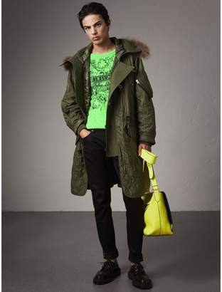 Burberry Detachable Fur Trim Hooded Diamond Quilted Parka