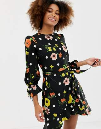 Influence frill skirt back detail dress in floral and polka dot
