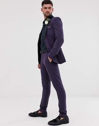 Asos Design DESIGN wedding super skinny tuxedo suit trousers in purple