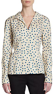 Dolce & Gabbana Stretch Cotton Polka Dot Blouse