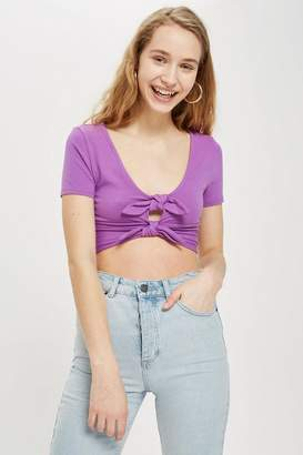 Topshop Womens Double Knot Crop T-Shirt
