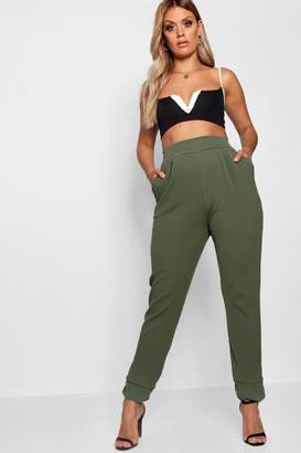 boohoo Plus Formal Pleated Cuff Trouser
