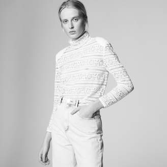 Sandro Lace top with high neck
