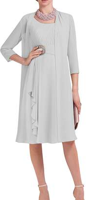 D.W.U Chiffon Jacket Short Mother of the Bride Dresses with Sleeves Formal Gowns US 22W