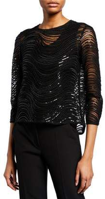 Emporio Armani Sequined & Beaded 3/4-Sleeve Evening Top