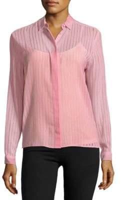 MSGM Debossed Striped Button-Down Shirt