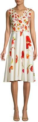 Gabby Skye Floral V-Neck Fit Flare Dress