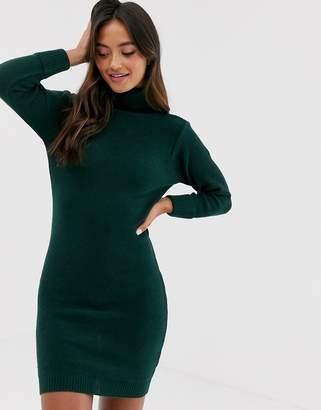 Brave Soul mandy roll neck jumper dress in forest green