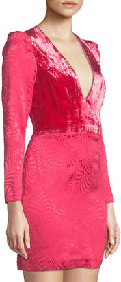 Free People Velvet-Bodice Long-Sleeve Jacquard Mini Dress, Pink