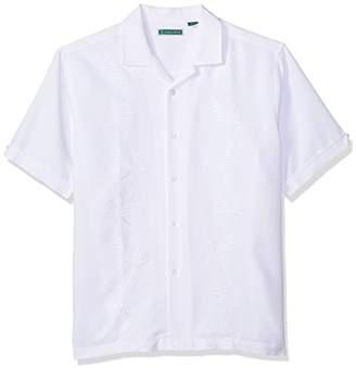 Cubavera Men's Short Sleeve Rayon-Blend Solid Cuban Camp Shirt with Pocket