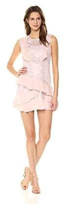 Parker Women's Gabriel Short Sleeve Lace and Silk Ruffle Dress