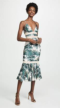 PatBO Palm Print Fitted Midi Dress