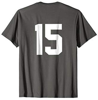 15 Sports Jersey Number on Back T-Shirt for Team Fan Player