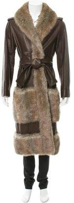 Chanel Fantasy Fur-Trimmed Leather Coat