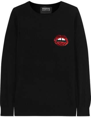 Sequined Merino Wool Sweater - Black