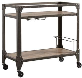 Weston Home Charcoal Metal and Wood Kitchen Cart
