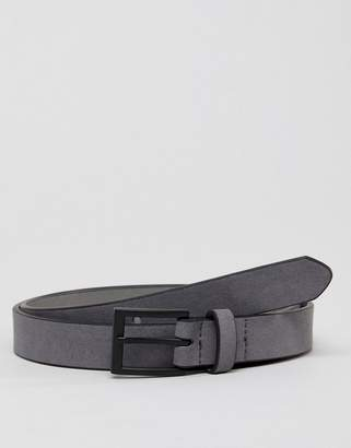 New Look Faux Suede Belt With Matte Buckle In Gray