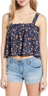 BP Floral Print Ruffle Crop Tank Top
