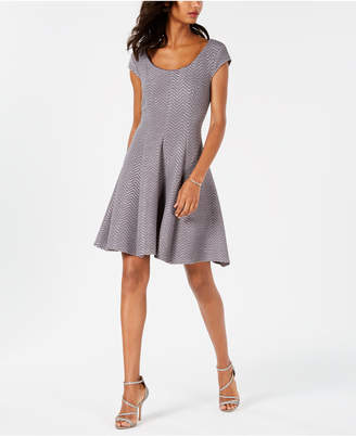 Robbie Bee Petite Metallic Fit & Flare Dress