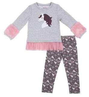 Little Lass Little Girl's Two-Piece Novelty Fleece Faux Fur-Trimmed Sweater & Printed Leggings Set