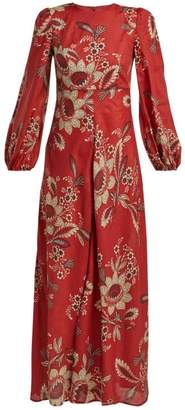 Zimmermann Juno Rosa Batik Print Linen Dress - Womens - Red Print