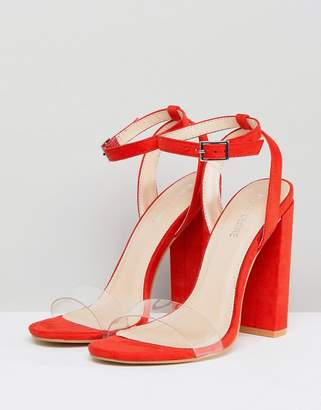 46057053791 Public Desire Natasa Orange Block Heeled Sandals