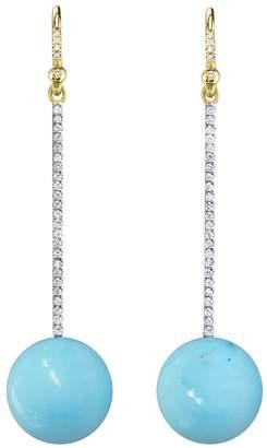 Irene Neuwirth Diamond And Kingman Turquoise Sphere Earrings