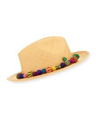 Valdez Panama Bonita Straw Pompom Fedora Hat, Medium Brown