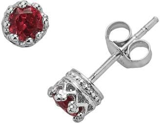 Junior Jewels Sterling Silver Garnet Crown Stud Earrings - Kids