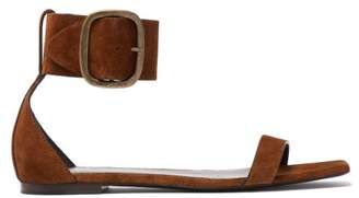 Saint Laurent Loulou Suede Buckle Sandals - Womens - Tan