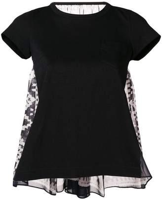 Sacai chiffon-panelled jersey T-shirt