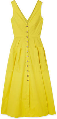 Saloni Zoey Cutout Stretch-cotton Poplin Midi Dress - Yellow