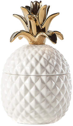 Torre & Tagus Pineapple Gold Crown White Ceramic Canister
