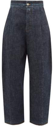 Loewe Distressed High Rise Wide Leg Jeans - Womens - Dark Blue