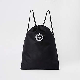 Hype black embroidery drawstring bag