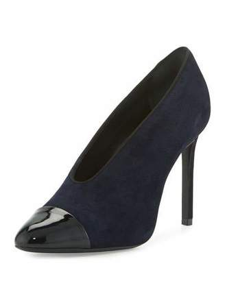 Lanvin Suede Cap-Toe 105mm V-Neck Pump, Dark Blue/Black $775 thestylecure.com