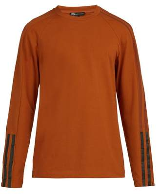 Y-3 Y 3 3 Stripes Long Sleeved Cotton Blend T Shirt - Mens - Orange