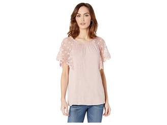 Bobeau B Collection by Marina Lace Sleeve Top