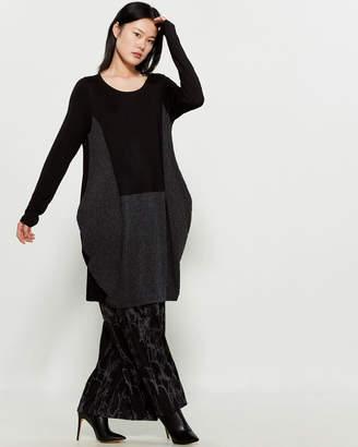 Matti Mamane Black & Grey Color Block Long Sleeve Tunic
